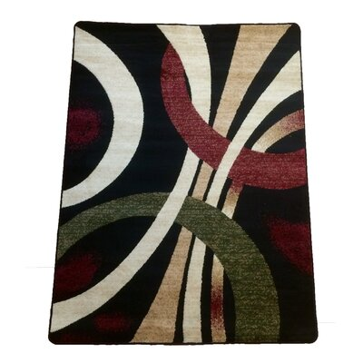 Abstract Black Area Rug Rug Size: 8 x 10