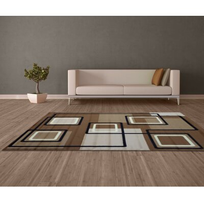 Geometric Maze Brown Area Rug Rug Size: 5 x 8