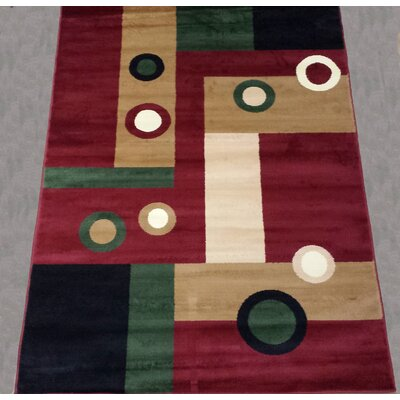 Geometric Red Area Rug Rug Size: 5 x 8