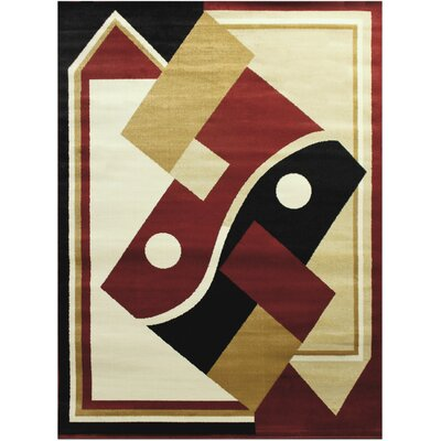Contemporary Red/Beige Area Rug Rug Size: 8 x 10