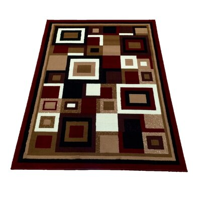 Geometric Red/Brown Area Rug Rug Size: 5 x 7