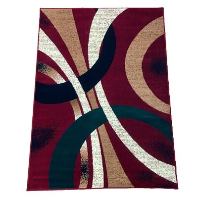 Abstract Red Area Rug Rug Size: 5 x 7