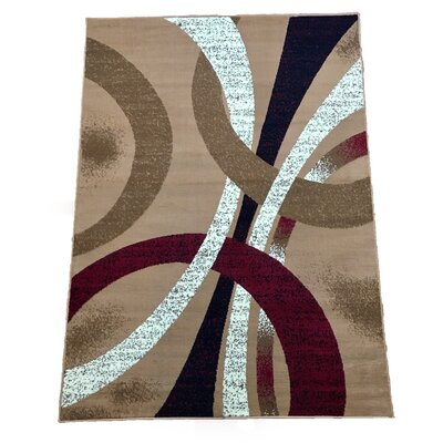 Abstract Gold Area Rug Rug Size: 8 x 10