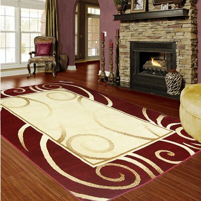 Majestic Red/Gold Area Rug Rug Size: 5 x 8