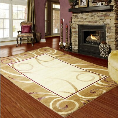 Majestic Gold/Burgundy Area Rug Rug Size: 5 x 8