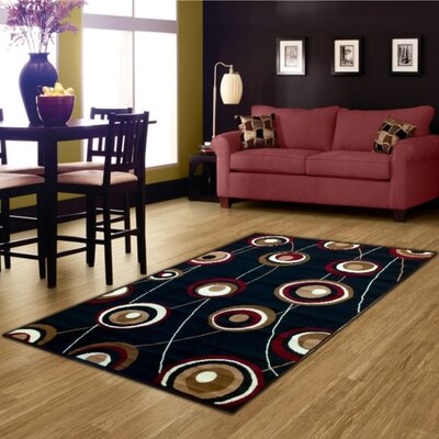 Geometric Black Area Rug Rug Size: 8 x 10