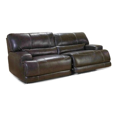 Power Leather Reclining Sofa Upholstery: Coffee
