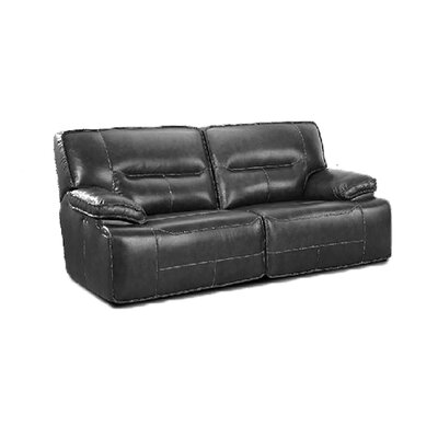 Power Recline Leather Reclining Sofa Upholstery: Charcoal