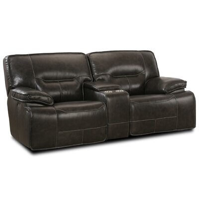 Power Console Glider Leather Reclining Loveseat