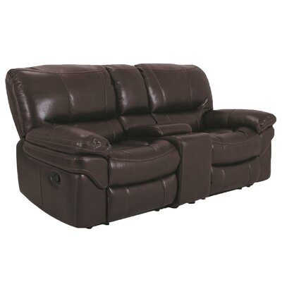 Console Reclining Loveseat Upholstery: Brown