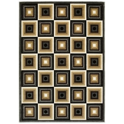 Herrin Hand-Carved Charcoal/Beige Area Rug