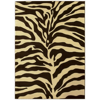 Esteban Hand-Carved Brown/Beige Area Rug Rug Size: 5 x 7