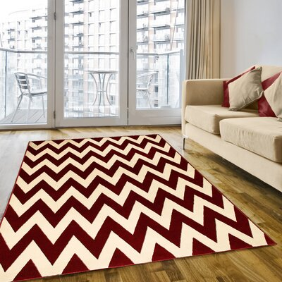 Andover Hand-Carved Red/Beige Area Rug