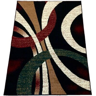 Curtiss Geometric Black Area Rug