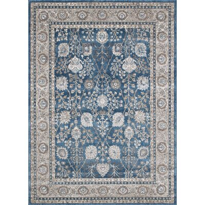 Berneen Traditional Floral Ocean Blue Area Rug