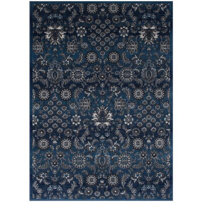 Audric Floral Style Thunder Blue Area Rug
