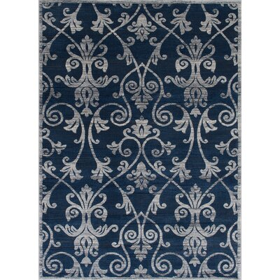 Audric Contemporary Floral Thunder Blue Area Rug