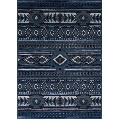 Edwin Tribal Thunder Blue Area Rug