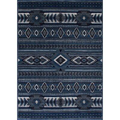 Cima Tribal Style Thunder Blue Area Rug