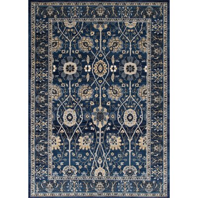 Woodson Floral Thunder Blue Area Rug