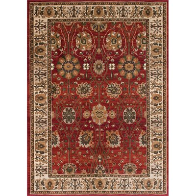 Baylen Bohemian Floral Red Rust Area Rug