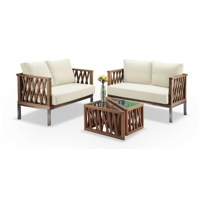 Modern Triangle 4 Piece Seating Group with Cushion