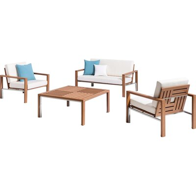 Modern Square 4 Piece Seating Group with Cushion