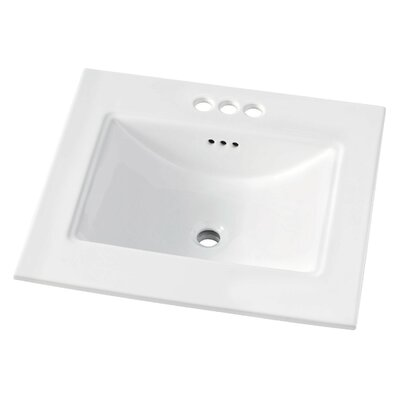 Brighton 25 Single Bathroom Vanity Top Faucet Mount: 4 Centerset
