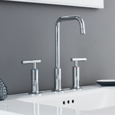 Prelude 3 Piece Widespread Wrist Blade Handle Bathroom Faucet Set Finish: Polished Chrome
