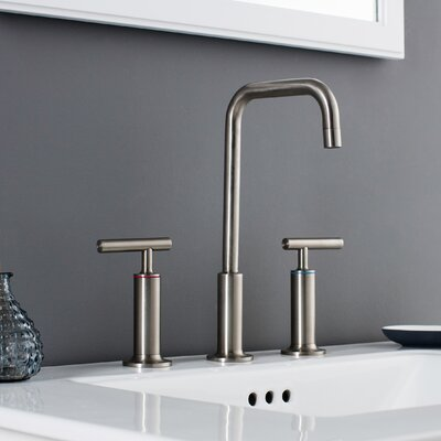 Prelude 3 Piece Widespread Wrist Blade Handle Bathroom Faucet Set Finish: Brushed Nickel