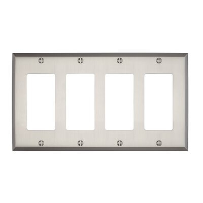 Graham Quad Rocker Light Switch Cover Finish: Brushed Nickel