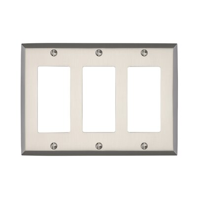 Graham Triple Rocker Light Switch Cover Finish: Brushed Nickel