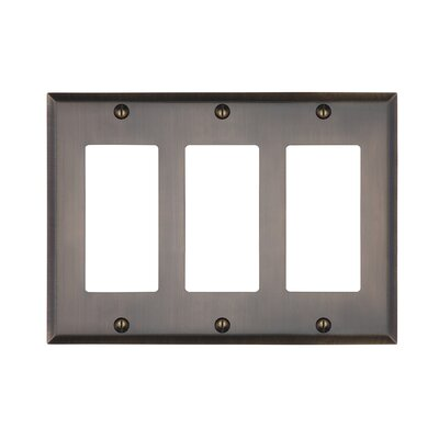 Graham Triple Rocker Light Switch Cover Finish: Antique Brass