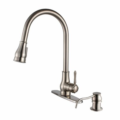 Brixton Single Handle Pull Down Standard Kitchen Faucet Finish: Brushed Nickel
