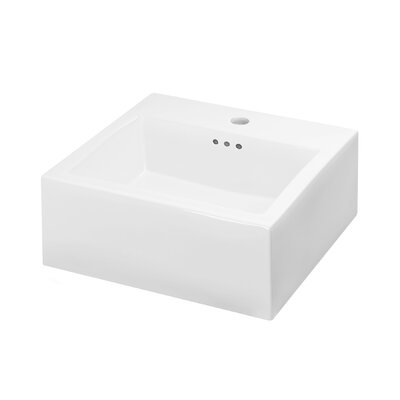 Brilon Ceramic Rectangular Vessel Bathroom Sink with Overflow