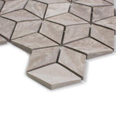 Warren 9.47 x 11.31 Basalt Mosaic Tile in White Wooden Marble