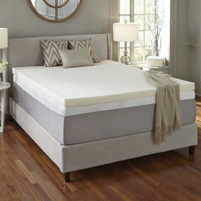 Flat 4 Memory Foam Mattress Topper Size: California King