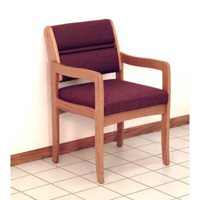 Standard Leg Guest Chair Wood Finish: Medium Oak, Fabric: Vinyl Wine, Arms: Included