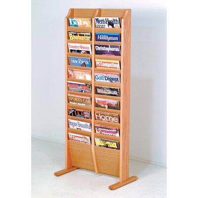 Wooden Mallet 20 Pocket Free Standing Magazine Rack - Wood Finish: Light Oak