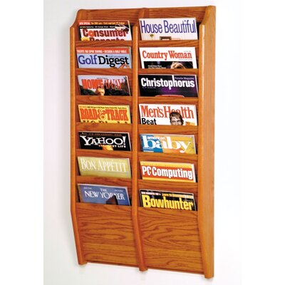 Wooden Mallet Fourteen Pocket Wall Mount Magazine Rack - Wood Finish: Medium Oak at Sears.com