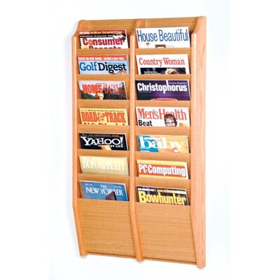 Wooden Mallet Fourteen Pocket Wall Mount Magazine Rack - Wood Finish: Light Oak at Sears.com