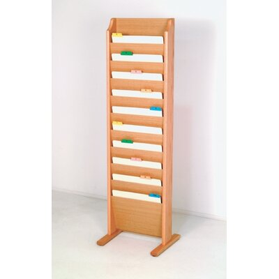 Free Standing Ten Pocket Chart Holder Wood Finish: Light Oak