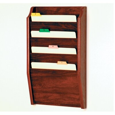 Four Pocket Chart Holder Wood Finish: Dark Red Mahogany