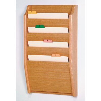 Four Pocket Chart Holder Wood Finish: Light Oak