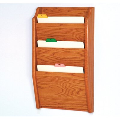 Three Pocket Chart Holder Wood Finish: Medium Oak