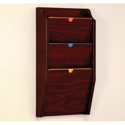 Three Pocket HIPPAA Compliant Chart Holder Wood Finish: Dark Red Mahogany