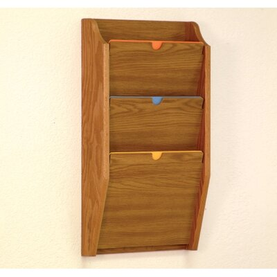 Three Pocket HIPPAA Compliant Chart Holder Wood Finish: Medium Oak