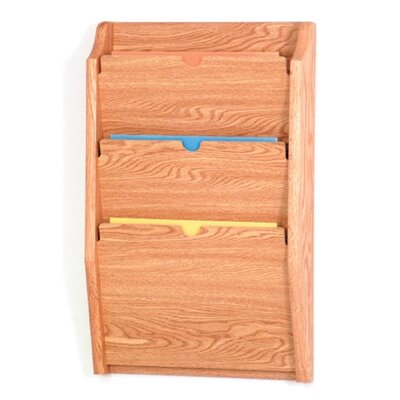 Three Pocket HIPPAA Compliant Chart Holder Wood Finish: Light Oak