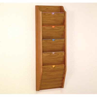 Five Pocket HIPPAA Compliant Chart Holder Wood Finish: Medium Oak