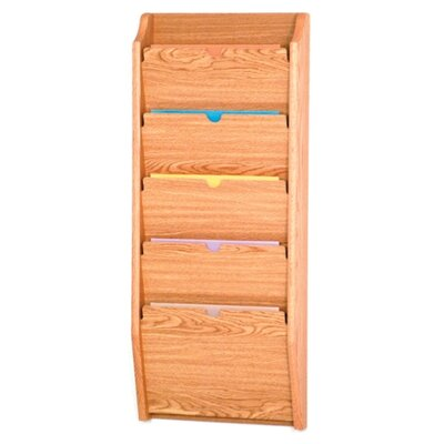 Five Pocket HIPPAA Compliant Chart Holder Wood Finish: Light Oak